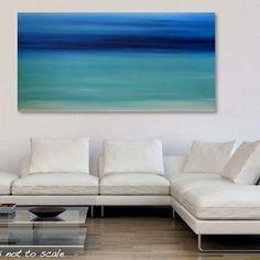 Large 48 x 24 Abstract Seascape Painting - Original Modern Minimalist Ocean Canvas Acrylic Wall Art Decor - Blue, Turquoise- Caribbean Dream