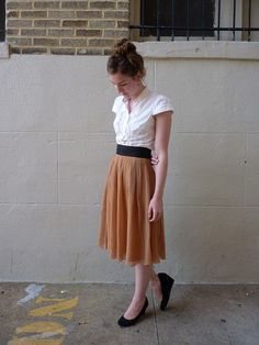 white+camel+black / midi-length skirt / wedge heels / white button down / perfect for teaching / understated elegance