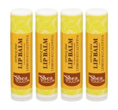 Shea Touch  Lip Treatment Balm  Lemoneucalyptus  Pack of 4 Tubes of 015 Oz *** You can get additional details at the image link.