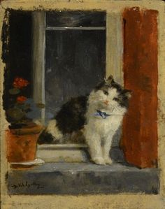A Cat at the Window Charles van den Eycken private collection cats in art
