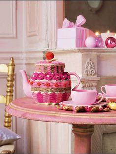 Fancy pink tea cozy