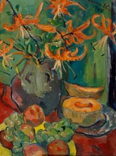 Still life with tiger lilies, fruit and a melon by Irma Stern