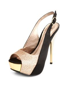 Glitter-Inset Slingback Heel - Just got these from Charlotte Russe... can't wait to wear them!