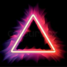 Stock vector of 'Neon triangle. Neon red light. Vector electric frame. Vintage…