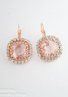 Swarovski unfoiled Vintage rose 12mm cushion cut crystals - good match for morganite jewelry | www.endorajewellery.etsy.com