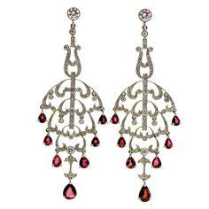 Natural Ruby Diamond Chandelier Dangle Earrings | From a unique collection of vintage dangle earrings at https://www.1stdibs.com/jewelry/earrings/dangle-earrings/
