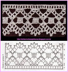 Crochet Lace edging with more at site, mostly block edgings.This post was discovered by Güszydełkowo na Stylowi.This is a pretty edging for a towel or pillowcase\ Crochet Boarders, Crochet Edging Patterns, Crochet Lace Edging, Crochet Motifs, Crochet Diagram, Crochet Chart, Lace Patterns, Crochet Trim, Filet Crochet
