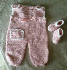 Baby crochet romper and booties.