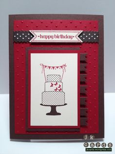 """Stampin' Up!, Sneak Peek, Paper Players #96, Make a Cake, Itty Bitty Banners, Bitty Banners Framelits Dies, Perfect Polkadots Embossing Folder, Chocolate Chip 1/2"""" Dotted Scalloped Ribbon"""