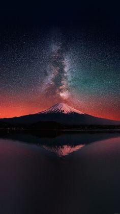 Wallpaper Milky Way On Dark Mountain Fuji Sky