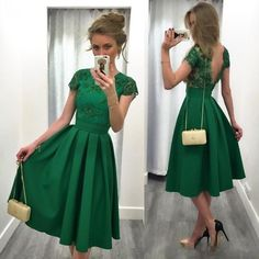Green Prom Dress,Knee Length Prom Gown,Prom Dresses Short Sleeves,Prom Dresses,Ball Gown, Party Dress,Cocktail Dress,Graduation Dress