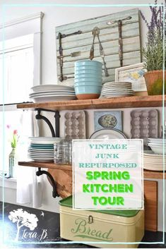 Get vintage-inspired Spring kitchen decor ideas with cottage farmhouse style. Repurposed junk, vintage collections and organic touches combine for a fresh look.