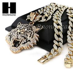 """Mens 14k Plated DRAKE TIGER Pendant w/ 30"""" Iced Out Cuban Link Chain NN032G"""