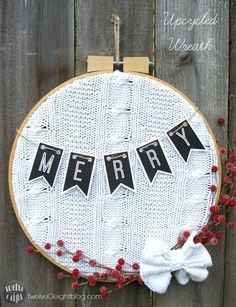 Upcycled Embroidery Hoop Wreath twelveOeightdiy #diywreath #upcycle #sweaterwreath #embroideryhoop #twelveOeightblog