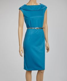 Take a look at this Teal Ascot Belted Sleeveless Dress by Joy Mark on #zulily today!