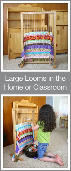 So much fun and beneficial for a wide variety of ages! (Using a large weaving loom with kids in the home or classroom~ Buggy and Buddy)  Repinned by Apraxiakidslearning