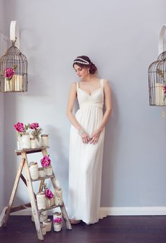 simple wrapped sweetheart neckline wedding dress