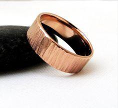 Mens Wedding Band Rose Gold Wedding Ring Bark by SilverSmack
