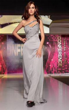 2013 elegant One shoulder beaded grey sexy formal evening dresses  prom gowns [30725] - US$152.00 : PrettyDoris