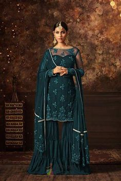 effed3b28d Wedding Blue color Salwar Kameez in Net fabric with Sharara Embroidered,  Stone, Thread work. WomenOracle