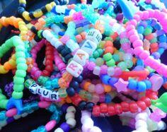 25 Kandi Pony Bead PLUR Rave Rainbow Bracelets Handmade