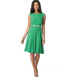 New sewing pattern from Butterick! Dress has neckline detail and flared skirt. B6164 includes a long-sleeve version.