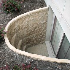 a window well from outside the basement