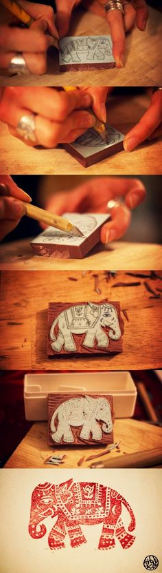 Sangneri - Rajasthan  Elephant Sanganeri wooden block stamp being made https://www.facebook.com/nikhaarfashions