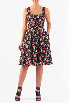 Vibrant floral print vitalizes our feminine fit-and-flare crepe dress styled with a tank bodice and full flare skirt.