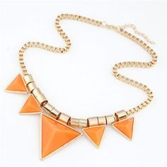Fashionable Orange Triangles Decorated Necklace