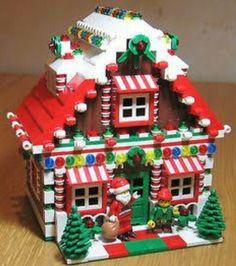 LEGO Custom Gingerbread House Christmas Train Holiday Train City Town Santa Elf it is almost for Christmas Lego Christmas Village, Christmas Train, Noel Christmas, Christmas Crafts, Holiday Train, Christmas Houses, Christmas Images, Lego Duplo, Minifigures Lego