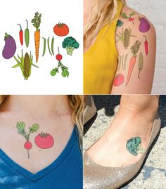 Julia Roth's Creation of Vegetable Temporary Tattoos. (Ideal for vegetarian/vegan/whole food plant based diets)