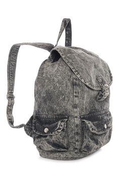Primark - Grey Denim Acid Wash Backpack