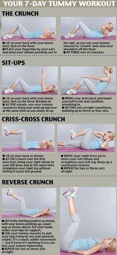 Tummy exercises Ab Workouts, Workout Exercises, Stomach Workouts, Flat Tummy Exercises, Loose Stomach Fat Workout, Flatten Stomach Workout, Tummy Tuck Exercise, Flat Tummy Workout, Exercise Moves