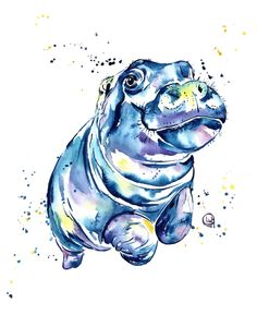 Hippo Colorful Watercolor Hippo Painting - Grace Couch Throw Pillow by Whitehouse Art - Cover x with pillow insert - Indoor Pillow Hippo Tattoo, Hippo Drawing, Watercolor Paintings, Original Paintings, Watercolors, Baby Hippo, Kids Room Art, Art Kids, Zoo Animals