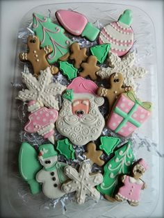 Pink and Green Christmas Cookies, She Bakes