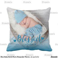 Blue Baby Birth Photo Keepsake Throw Pillow. Inspiration to create your product. The photograph must have good resolution. Inspiración para crear tu producto. La fotografía debe tener buena resolución. Decoración para el hogar. Home decoration. #cojín #pillows