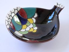 Vintage Keramos Pottery Art, hand painted, made in Israel -- hard-to-find piece.