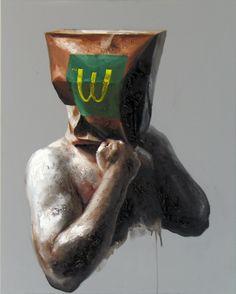 """Xavier Jallais - """"Automorphie au sac McDo"""" (2012) - Wood coal, ash, sand, acrylic & oil on canvas, 65 x 81 (cm) Unique Art, Garden Sculpture, Creations, Concept, Statue, Christmas Ornaments, Holiday Decor, Painting, Inspiration"""