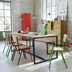Tafel voor 6 à 8 personen, in massief notenhout en staal, Hiba | La Redoute Interieurs | La Redoute