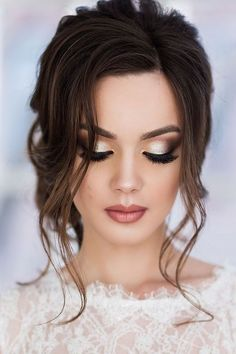 38 Insanely Beautiful Makeup Ideas for Any Event - Beauty Makeup Ideas - Makeup Hochzeit Fresh Wedding Makeup, Wedding Makeup Looks, Hair Wedding, Weeding Makeup, Wedding Bride, Wedding Ideas, Wedding Beauty, Dramatic Wedding Makeup, Wedding Makeup For Brown Eyes