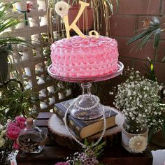 Pink and gold cake at a shabby chic birthday party! See more party planning ideas at CatchMyParty.com!