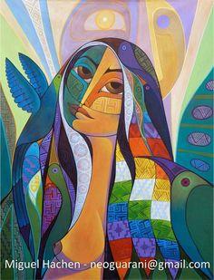 Crónicas de la Tierra sin Mal: La América Morena Art And Illustration, Fantasy Kunst, Fantasy Art, Cubism Art, Mural Art, Native American Art, Portrait Art, Figure Painting, Indian Art
