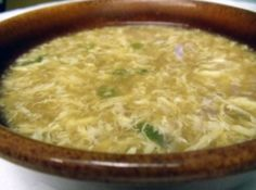 EGG DROP SOUP Ingredients  4 cups chicken broth, condensed  2 tbsp soy sauce  1 tbsp dry sherry  1 tbsp cold water  1 tbsp cornstarch  2 eggs well beaten  2 green onions,thinly sliced diagonally  2 tsp dark sesame oil  Share Recipe