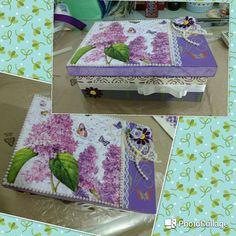 MDF lilás com Decoupage, papel textura e aplicações