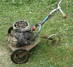 Street Use: Soviet Self-Made Lawnmower.a diy mountfield. Lawn Mower Tractor, Pedal Cars, Lawn Care, Outdoor Power Equipment, Garden Tools, Bicycles, Agriculture, Street, Random