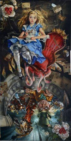 """Disneys """"Alice im Wunderland"""", interpretiert von der Künstlerin Heather Theurer. Vis ..."""
