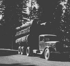 Loaded log truck in the Blue Mountains of Northeastern Oregon, ca. 1937