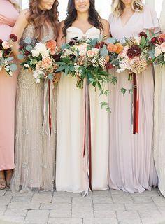 blush and sparkle bridesmaids dresses