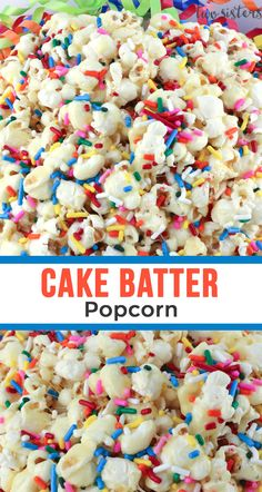 movie night snacks Our Cake Batter Popcorn is sweet, salty, full of sprinkles and it tastes just like a Birthday Cake. This yummy and colorful snack is perfect for family movie night Gourmet Popcorn, Popcorn Snacks, Candy Popcorn, Diy Popcorn, Snacks Diy, Popcorn Toppings, Popcorn Balls, Flavored Popcorn, Cake Batter Cheesecake